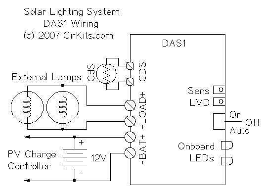 Simple Dark Activated Lamp Circuit Diagram | Cirkits Das1 Dark Activated Lighting Controller Kit